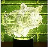Luci notturne a LED 3D Piccolo maiale con luce a 7 colori per lampada da decorazione domestica Visualizzazione incredibile Illusione ottica Fantastico