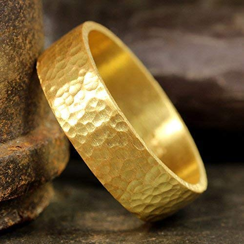 FREE Sizing /& Engraving 7mm Handmade Hammered 24K Yellow Gold Over 925K Sterling Silver Half Round Vermeil Handcrafted Wedding Band Ring