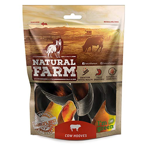 Natural Farm Pet Cow Hooves (6-Pack) All-Natural, Sourced from a Single Supplier | Farm-Raised Beef Hoof Dog Treats | Odor-Free | Dental Chew for Small, Medium, Large Breeds