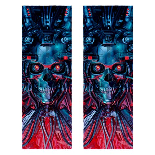 2 paquetes de toallas de yoga para gimnasio, camping, playa y viajes, ilustración de ciencia ficción, asustante cráneo robótico, toalla de banco para cuello, secado rápido