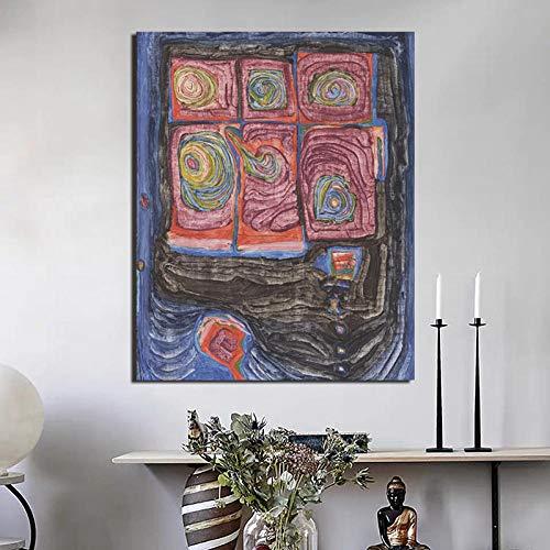 Chihie Friedensreich Hundertwasser Leinwand Gemälde Drucke Wohnzimmer Home Decoration Moderne Wandkunst Ölgemälde Posters 60x80cm Kein Rahmen