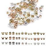 Zasiene Coeur de Perles en Métal 105 Pièces Perles d'Espacement en Métal Formes Différentes Perles de Coeur Artisanat DIY Perles Coeur Conception pour Bracelets Collier Fabrication de Bijoux