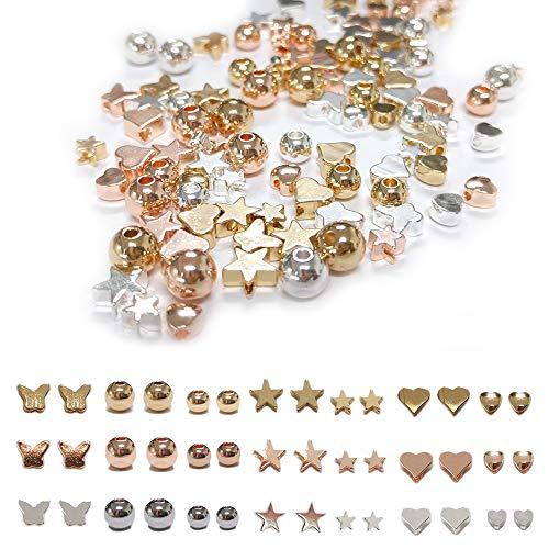 Zasiene Cuore di Perline di Metallo 105 Pezzi Distanziatore Perline Forme Diverse Perline Artigianato Perline di Cuore Distanziatore per Bracciali Collane Creazione di Gioielli