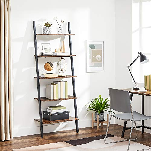 VASAGLE Alinru Ladder Shelf Leaning Shelf, 5-Tier Bookshelf Rack, for Living Room Kitchen Office, Stable Steel, Industrial Furniture, Rustic Brown ULLS46BX