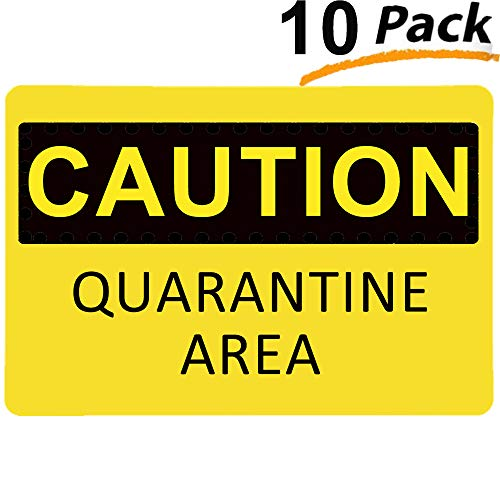 Caution Quarantine Area Sign (10 Pack), YTFGGY Safety Warning Sticker 8.7' x 6' Self Adhesive Vinyl Decal UV Protected & Weatherproof - Indoor & Outdoor Use, Black on Yellow