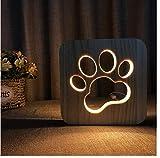 IWILCS Madera Tallada USB Lámpara, Creativa Madera 3D de La Lámpara, Luz de noche de madera para gatos y perros, con USB luz Nocturna Creativa