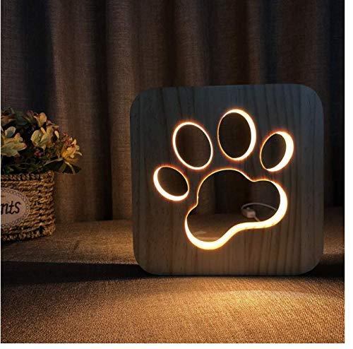 IWILCS Luz nocturna LED con forma de huella de pata, 3D, luz nocturna de madera con forma de perro y gato, de madera tallada, creativa, con USB, luz nocturna creativa
