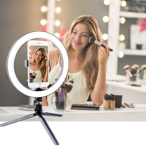 "Makeup Ring Light with Stand, FORNORM 26CM Dimmable LED Ring Light with 3 Lighting Mode & 10 Level Brightness, Tripod Stand & 270°Rotatable, 2.56-3.15"" Phone Holder, M1/4"" Connector, USB Power"