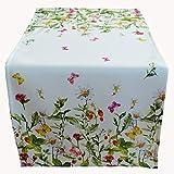 Raebel - Runner da tavola, tovaglia centrotavola, 40 x 90 cm, decorazione da tavola per Pasqua, primavera , bianca e colorata con fiori e farfalle