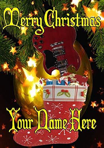 Cherry Red SG Gitaar Voorraad nxc101 Vrolijk Kerstmis Kerstkaart A5 Gepersonaliseerde Wenskaarten Geplaatst door de VS Cadeaus voor Alle 2016 uit Derbyshire UK