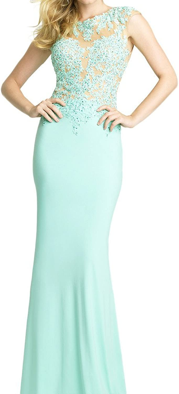 Avril Dress Sheath Tulle Appliques Cap Sleeve Evening Prom Dress Bodycon Train