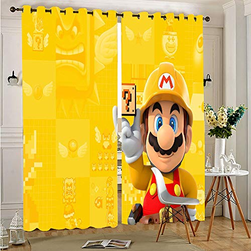 CAJISO Super Mario Characters Cortinas opacas para ventana, térmicas, filtrado de luz, cortinas para puerta corredera para sala de estar, 150 x 100 cm