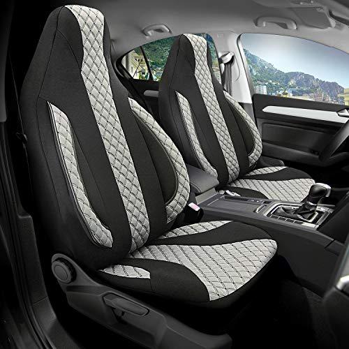 Auto-Sitzbezüge Vordersitze Auto-Sitzbezug Set Fahrersitz und Beifahrer Auto-Zubehör Schonbezug Autositzbezüge passend für Mercedes Benz CLA-Klasse in Schwarz Hellgrau Pilot