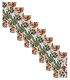 Newbridge Gourd Gathering Contemporary Autumn and Fall Fabric Napkins, Thanksgiving Pumpkin, Acorn and Leaf Print, Soil Resistant, No Iron Easy Care Napkins, Set of 8 Napkins