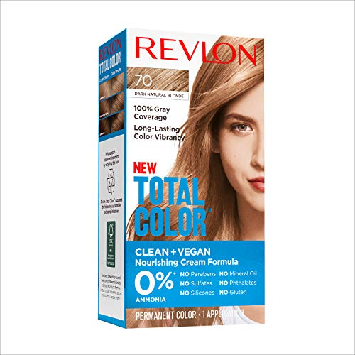 Revlon Total Color Permanent Hair Color, Clean and Vegan, 100% Gray Coverage Hair Dye, 70 Dark Natural Blonde, 3.5 oz