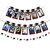 2021 Graduation Photo Banner, Black & Red Glitter Kindergarten to 12th Grad Photo Banner + Graduation Cap Banner for 2021 Graduation Party Decorations Supplies