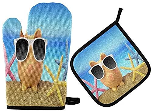 MODORSAN Verano Gafas de Sol Piggy Oven Mitts Juegos de Soportes para ollas 2pcs Sandy Beach Starfish Antideslizante Cocina Almohadillas Calientes Resistentes al Calor para Mujeres Guantes de Cocina