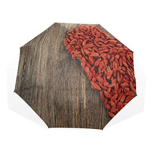 Umbrella Compact Chinesische rote Goji-Beeren 3-Fach Kunstschirme (außerhalb Druck Sonnenschirm Reisen Coole Regenschirm Compact Sonnenschirm Frauen