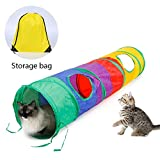 Ace one Cat Tunnel Pet Tube Collapsible Play Toy Indoor Outdoor Kitty Toys for Puzzle Exercising Hiding Training and Running with Fun Ball and 2 Peek Hole