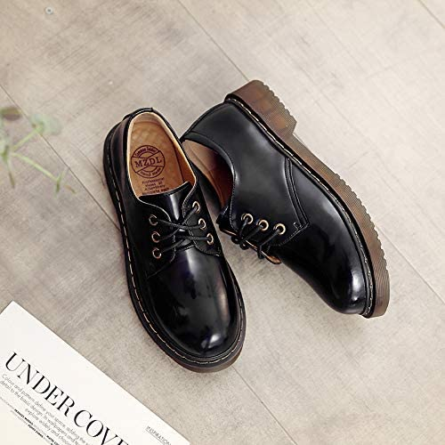 Shukun Bottes Autumn Retro Martin bottes Wohommes bottes PU Flat chaussures College Wind Small chaussures