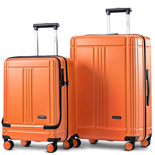 Baywell Laptop Luggage Lightweight Hard Shell Cabin Luggage 4 Wheels Suitcase, Carry On Hand Travel Luggage Set 20/24 inch(Set of 2, Orange)