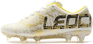 LEOCI Performance Soccer Shoes - Men and Boy Soccer Shoes Outdoor Soccer Cleat White Size: 10.5