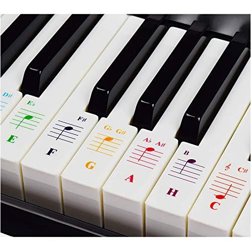 Klavieraufkleber für Keyboards mit 49/61 / 76/88 Tasten – Transparent und Entfernbar mit Kostenlosem Klavier E-Book