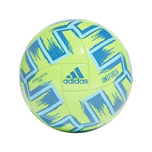 adidas Men's Uniforia Club UEFA Soccer Ball, Sgreen/Brcyan/Globlu, 5