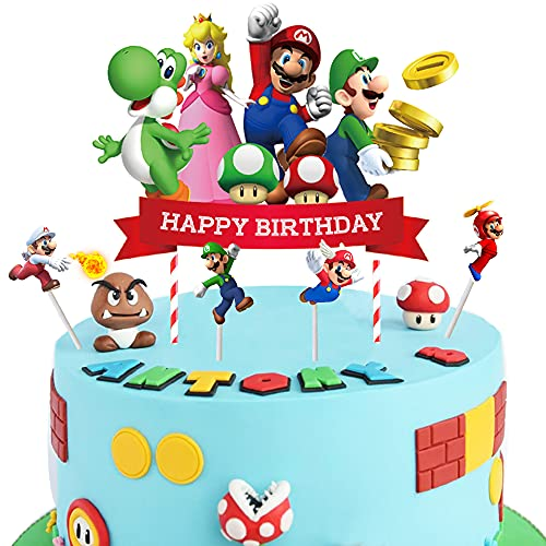 5pcs Super Mario Cake Toppers Super Mario Cupcake Toppers , Super Mario Happy Birthday Party Supplies Cake Decorations for Super Mario fans, Kids Birthday Party