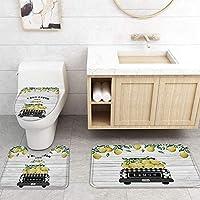 ZGDPBYF 浴室漫画用アップホームバスマットレモントラック木の板テクスチャプリントプリントバスマットシャワーフロア用カーペットバスタブマット