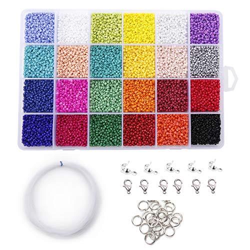 GOTONE Mini Cuentas de Vidrio, 2mm Potro Abalorios con Cierre de Langosta para Hacer Pulseras Collares Joyas DIY Regalo (24 Colores)
