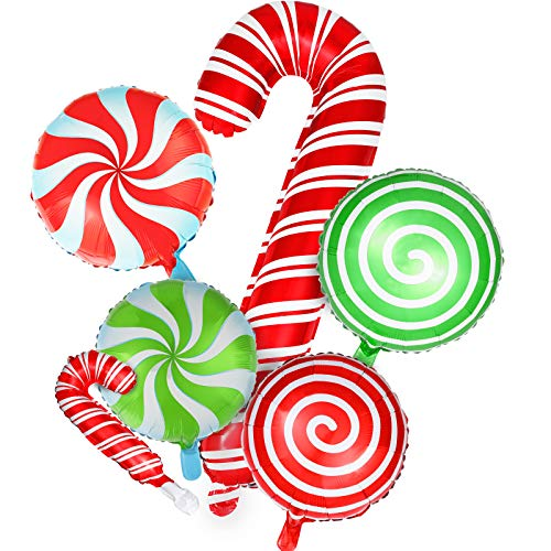 24 Pieces Christmas Candy Foil Balloons Christmas Candy Cane Balloons Sweet Candies Foil Balloons for Candies Theme Party Decoration Birthday Party Supplies
