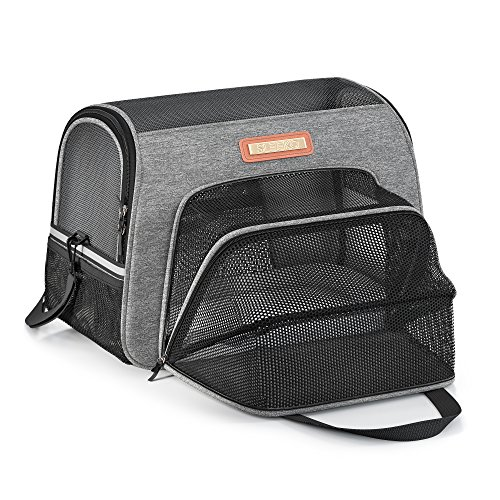 Luxury Pet Carrier Airline Approved Premium Under Seat Compatibility for Dogs and Cats - Soft Sided Portable Airplane Tote Bag Backpack with 2 Fleece Pads and Storage Case (Charcal gray supreme)