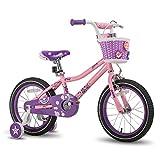 JOYSTAR 16 Inch Girls Bike with Training Wheels for 4 5 6 7 Years Old Kids Birthday Gift Children Bicycle with Training Wheels and Hand Brake Pink