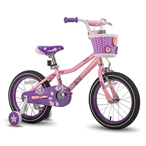 JOYSTAR 14 Inch Girls Bike with Training Wheels for 3 4 5 Years Old Kids, Starter Bike Bicycle with Basket and Training Wheels for Early Rider, Birthday Gift, Pink