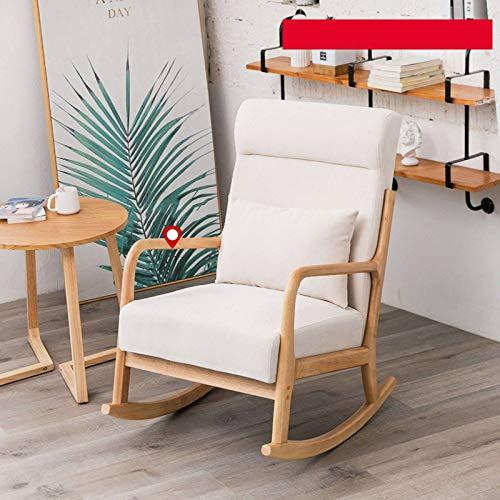 HUANXA Modern Balkon Entspannen Sie Sich Schaukelstuhl, Massivholz Lounge-Sessel Mit Gepolstert Single Fernsehsessel Für Schlafzimmer Wohnzimmer Faules Sofa-Cremeweiß