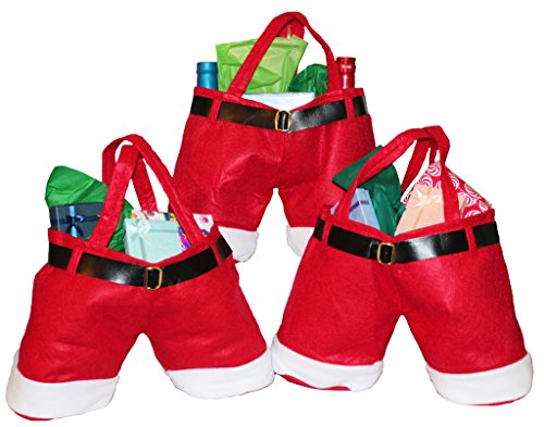 "Large Size Christmas ""Santa Pants"" Treat Gift Bags - Pack of 3"