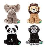 Your Planet Oso de peluche ecológico de 23 cm, diseño de elefante, león, panda, gorila de vida silvestre, hecho de 100% plástico reciclado, peluche Kawaii Cute Plushies (león)