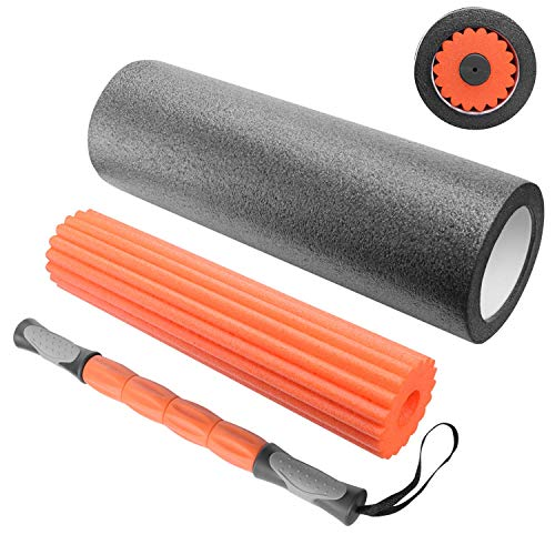 Sportout Faszienrolle Set, 3 in 1 Schaumstoffrolle, Massagerolle Yoga-Stange fördert Durchblutung & Regeneration, Foam Roller zur Triggerpunkt-Massage, ideal für Balance,Training, Fitness