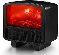 Foern Mini Calentador de Ventilador Estufa de Simulación 3D Ajuste de 3 Modos Portátil Protección contra Sobrecalentamiento para el Hogar/Oficina/Camper
