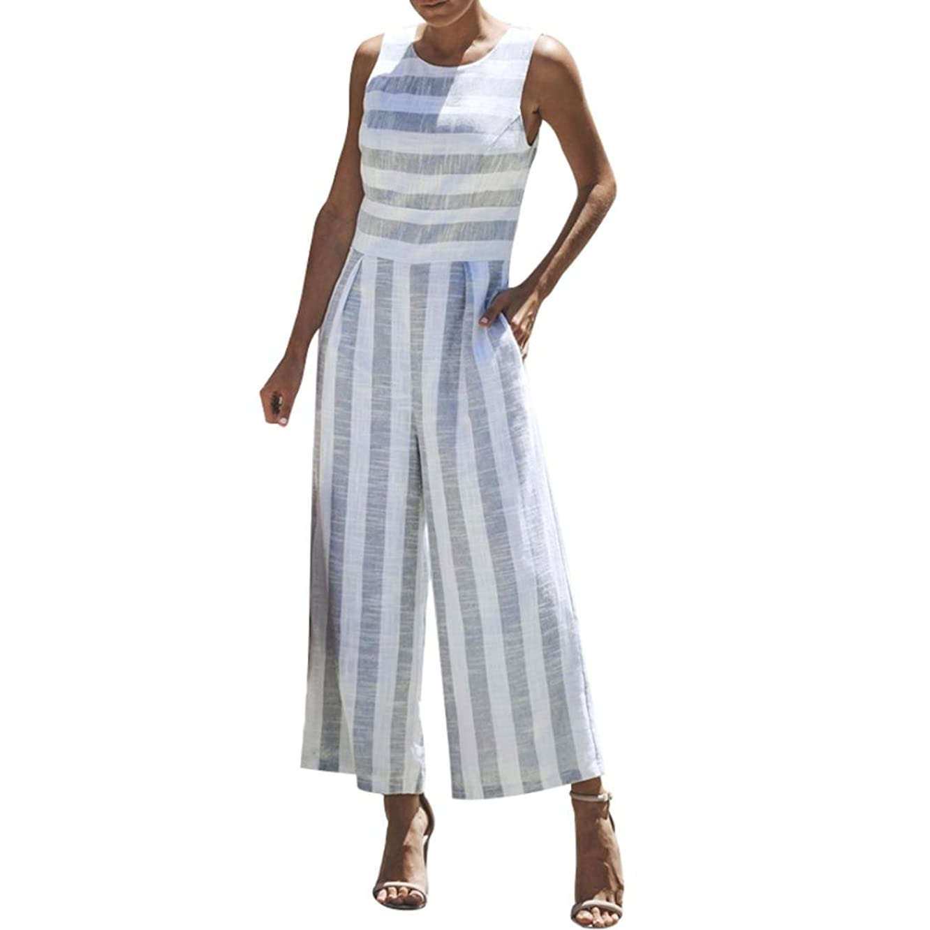 lotus.flower Women Sleeveless Striped Jumpsuit Casual Clubwear Wide Leg Pants Outfit(M, White)