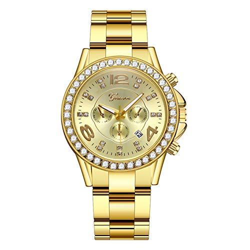 Hffan Damen Uhr Analog Quarz mit Silber Edelstahl Armband Wasserdicht Kristall Lünette ,Fashion Damenuhren und Diamantuhren Damen Casual Damenarmband Kristalluhren