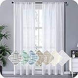 MRTREES Gardinen kurz 2er Set Leinen Vorhang im Modernen Stores Gardinen Schals Weiß 225×140 (H×B) für Wohnzimmer Schlafzimmer Kinderzimmer