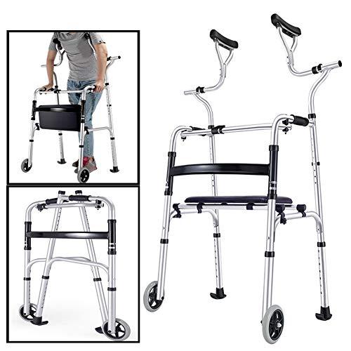 YXX-Andador Andadores para Ancianos Adultos Andadores Verticales De Pie Alto Para Personas Mayores, Asistente De Escalón Giratorio De Altura Ajustable Plegable, Andador Médico De Servicio Pesado Con 2