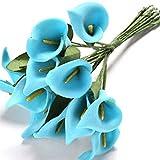 Woopower Buqué de calas artificiales, 12 piezas, colorido juego de flores artificiales; ideal para decorar bodas, en látex de tacto real., PE, azul, talla única