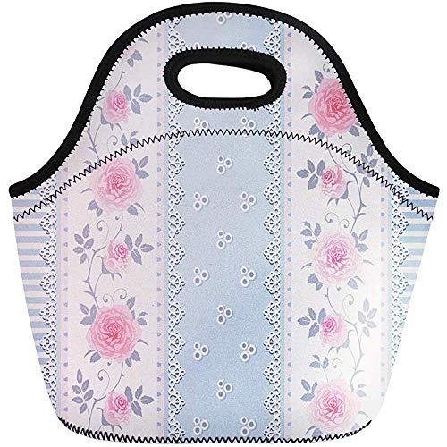 Pranzo Al Sacco, takken met rozenpatroon en veters voor picknick, herbruikbaar, vintage, reistas/bureautas, draagbaar