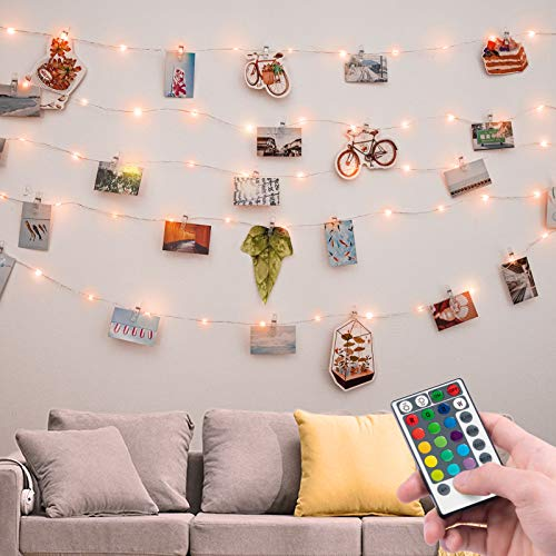 Photo String Lights, 33 Feet 100 Led Fairy Lights, String Lights with Remote for Bedroom Dorm Birthday Night Wedding Christmas Decorations( Clips not Included)