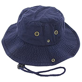 100% Cotton Boonie Fishing Bucket Hat with String Navy L/XL