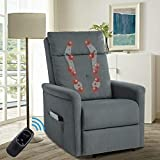 TITIMO Power Recliner Chair - Fabric Electric Elderly Recliner - Kneading VibrationMassage Chairwith 2D/3D Shiatsu Backrest, Wireless Remote Control & Side Pocket for Home Theater Living Room (Grey)
