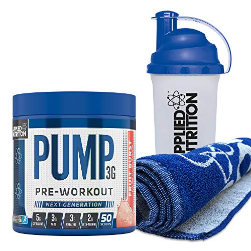 Applied Nutrition Bundle Pump 3G Pre Workout 375g + Gym Towel + 700ml Protein Shaker | Energy, Focus & Performance with Creatine, AAKG, Citrulline, Beta Alanine, Caffeine (Fruit Burst)